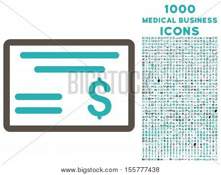 Dollar Cheque vector bicolor icon with 1000 medical business icons. Set style is flat pictograms, grey and cyan colors, white background.