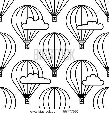 Dirigible and hot air balloons airship. Scandinavian trend seamless pattern with balloons and airships. Elements are drawn in vector in a linear style