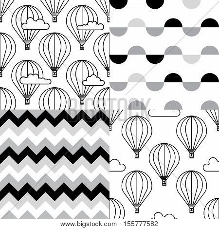 Dirigible and hot air balloons airship. Set of Scandinavian trend seamless pattern with balloons and airships. Elements are drawn in vector in a linear style