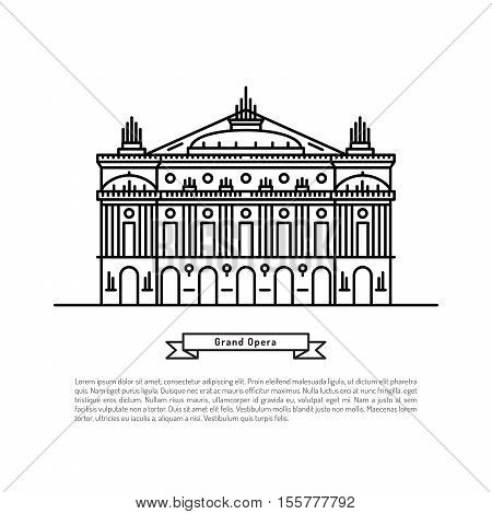 The building of the Opera in Paris, made in the style of outline with place for text. Outline Paris landmark