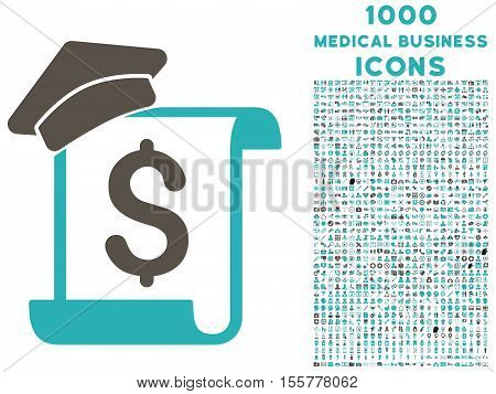 Education Invoice vector bicolor icon with 1000 medical business icons. Set style is flat pictograms, grey and cyan colors, white background.