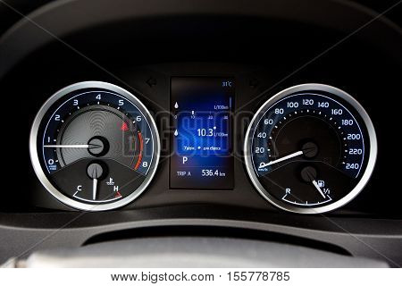 Modern style car dashboard. Close up view