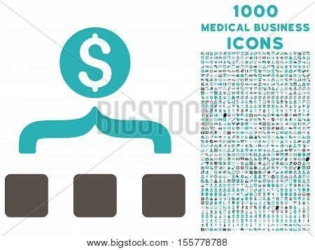 Money Aggregator vector bicolor icon with 1000 medical business icons. Set style is flat pictograms, grey and cyan colors, white background.