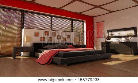 editorial 3d illustration of a modern bedroom interior
