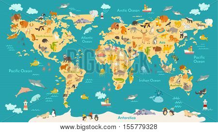 Animal map for kid. World vector poster for children cute illustrated. Preschool cartoon globe with animals. Oceans and continent: South America, Eurasia,North America, Africa Australia. Baby world map poster