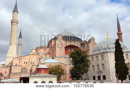 Hagia Sophia in Istanbul. The world famous monument of Byzantine architecture. View of the St. Sophia Cathedral at sunset