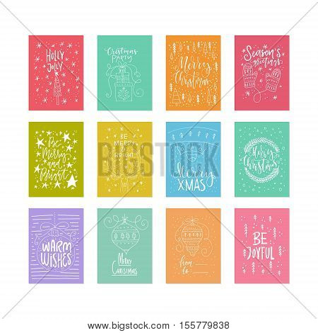 Vector set of unique Christmas cards with handdrawn lettering. Xmas quotes collection. New Year greetings isolated on background.