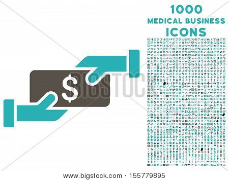 Payment vector bicolor icon with 1000 medical business icons. Set style is flat pictograms, grey and cyan colors, white background.