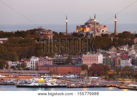 Istanbul, Turkey - October 21, 2016: Hagia Sophia in Istanbul. The world famous monument of Byzantine architecture. View of the St. Sophia Cathedral at sunset