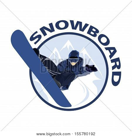 Extreme sport snowboard design. Snow and snowboard jump, surfing and winter, cold and mountain, season snowboarding, snowboarder illustration