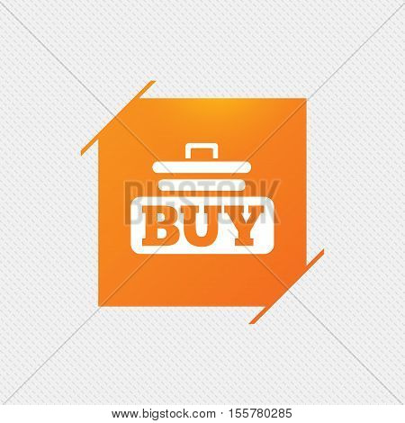 Buy sign icon. Online buying cart button. Orange square label on pattern. Vector