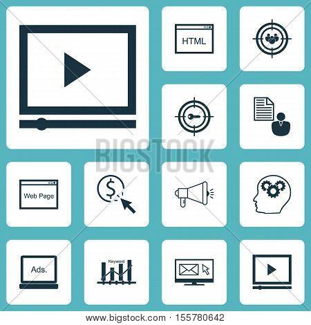 Set Of Seo Icons On Video Player, Digital Media And Keyword Marketing Topics. Editable Vector Illust
