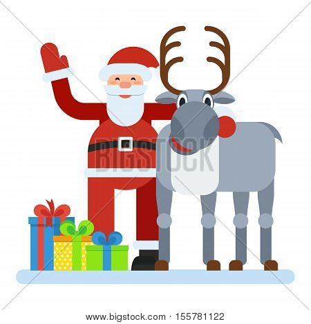 Santa Reindeer. Santa Claus hugging a reindeer. Distribution of gifts greetings to Christmas and New Year. Flat vector cartoon Santa Reindeer illustration. Objects isolated on a white background.