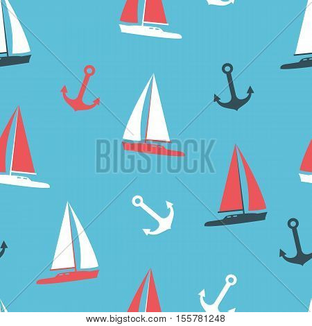 Stock vector illustration yachts and anchor silhouettes set