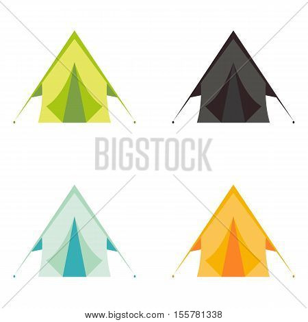 Vector tourist camp tents set isolated on white background