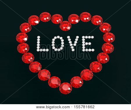 Heart of diamonds with word love 3D rendering