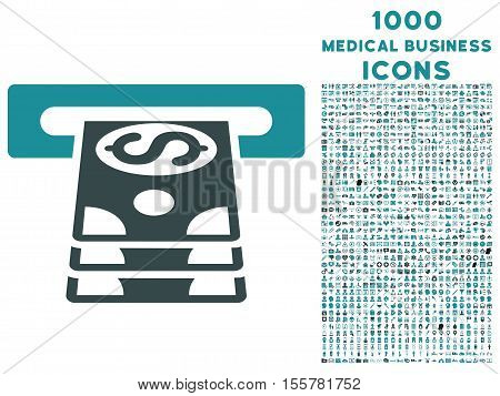 Bank Cashpoint vector bicolor icon with 1000 medical business icons. Set style is flat pictograms, soft blue colors, white background.