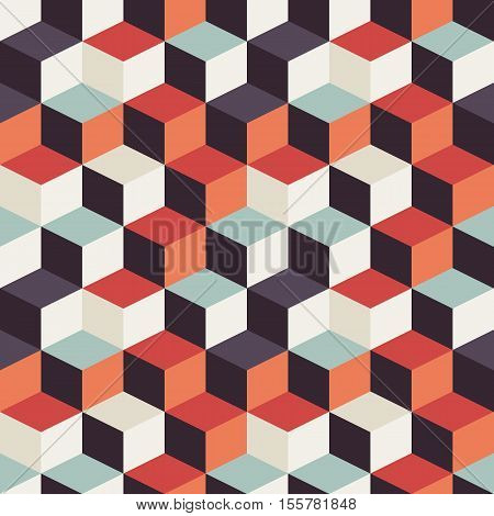 Geometric seamless pattern with colorful squares in retro design vector illustration