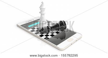 3D Rendering Chess Kings On A Smart Phone