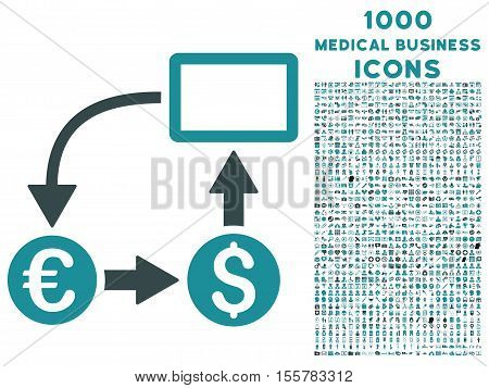 Cashflow Euro Exchange vector bicolor icon with 1000 medical business icons. Set style is flat pictograms, soft blue colors, white background.