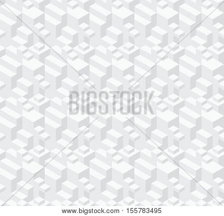 Abstract geometric background. Seamless vector pattern with isometric cubic structure. Repeating texture with light monochrome geometrical ornament.