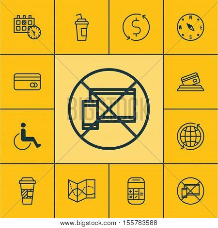 Set Of Transportation Icons On Appointment, Plastic Card And Money Trasnfer Topics. Editable Vector
