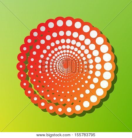 Abstract Technology Circles Sign. Contrast Icon With Reddish Stroke On Green Backgound.