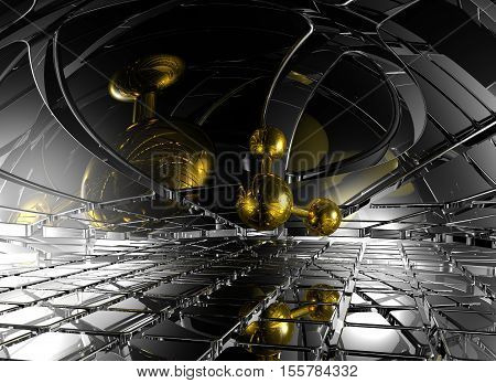 molecule in futuristic space - 3d rendering