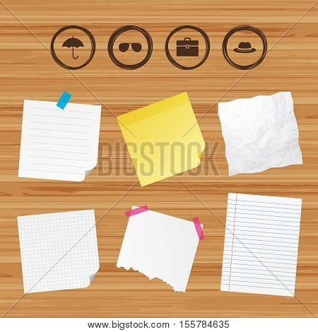 Business paper banners with notes. Clothing accessories icons. Umbrella and sunglasses signs. Headdress hat with business case symbols. Sticky colorful tape. Vector