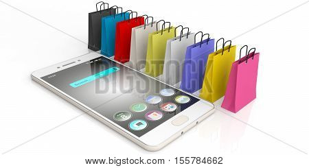 3D Rendering Shopping Bags And A Smart Phone