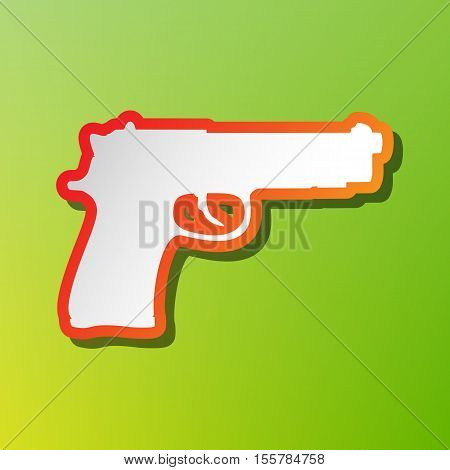 Gun Sign Illustration. Contrast Icon With Reddish Stroke On Green Backgound.