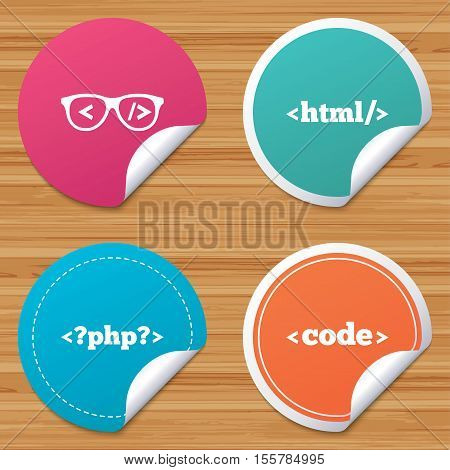 Round stickers or website banners. Programmer coder glasses icon. HTML markup language and PHP programming language sign symbols. Circle badges with bended corner. Vector