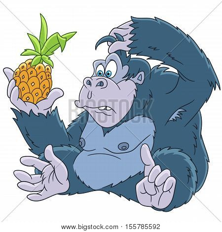 Cute and funny cartoon gorilla with pineapple isolated on white background. Childish vector illustration and colorful book page for kids.