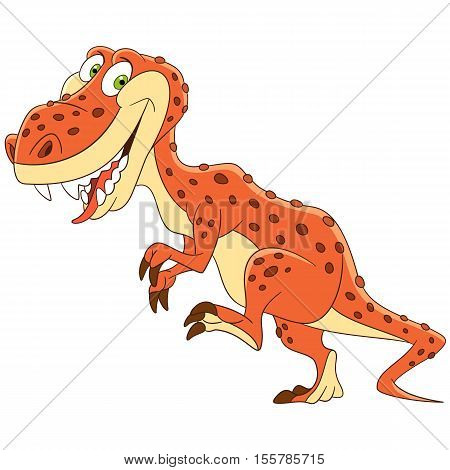 Cute and happy cartoon tyrannosaurus (t rex dinosaur) isolated on white background. Childish vector illustration and colorful book page for kids.