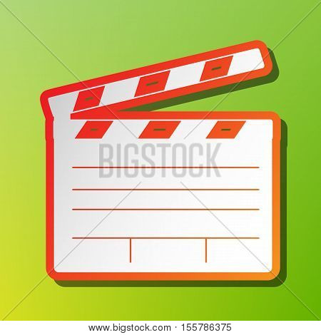 Film Clap Board Cinema Sign. Contrast Icon With Reddish Stroke On Green Backgound.