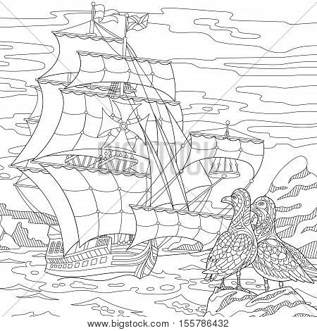 Stylized seagull birds and marine sailing ship. Freehand sketch for adult anti stress coloring book page with doodle and zentangle elements.