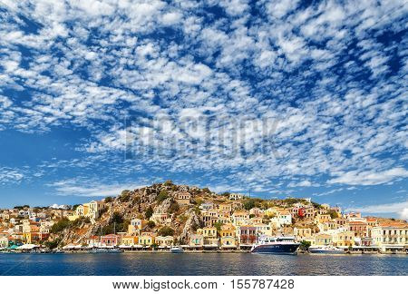 largest ship in the port of Symi. pictorial Greece series- Symi island, Dodecanes