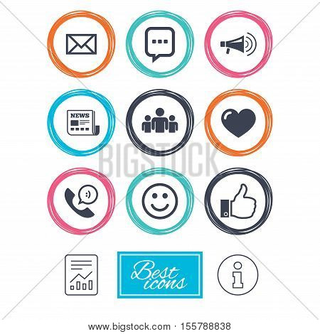 Mail, news icons. Conference, like and group signs. E-mail, chat message and phone call symbols. Report document, information icons. Vector