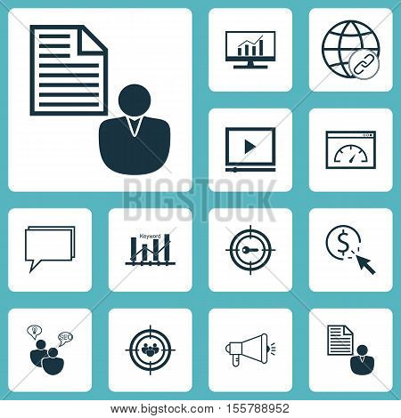 Set Of Marketing Icons On Focus Group, Keyword Marketing And Media Campaign Topics. Editable Vector
