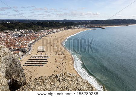 View from the cliff called Sitio of the fishing village and beach of Nazare Portugal