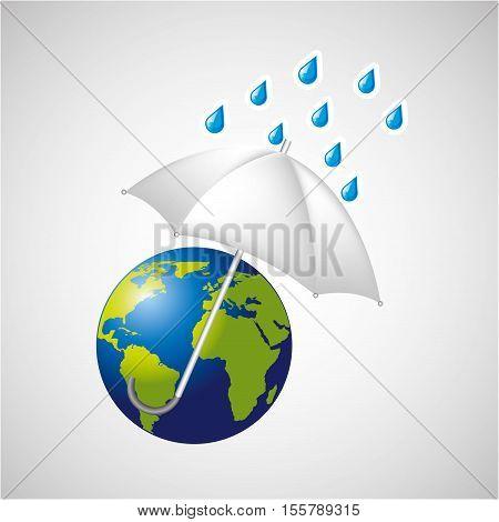 globe earth weather meteorology with rain umbrella vector illustration eps 10