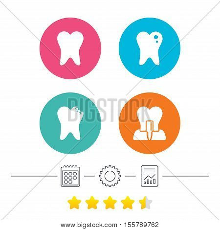 Dental care icons. Caries tooth sign. Tooth endosseous implant symbol. Calendar, cogwheel and report linear icons. Star vote ranking. Vector