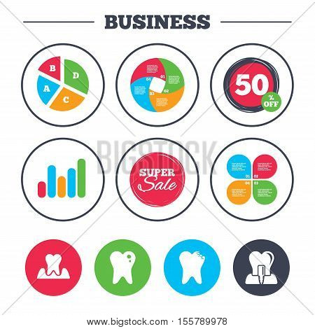 Business pie chart. Growth graph. Dental care icons. Caries tooth sign. Tooth endosseous implant symbol. Parodontosis gingivitis sign. Super sale and discount buttons. Vector