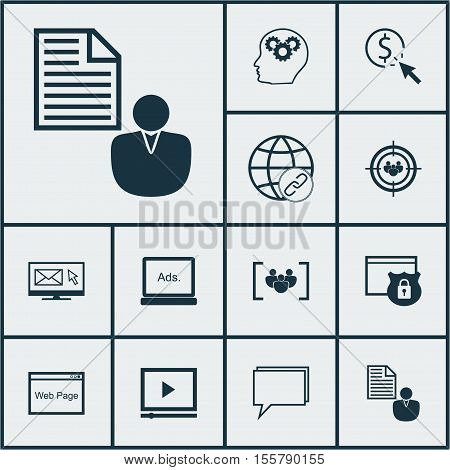 Set Of Marketing Icons On Security, Report And Focus Group Topics. Editable Vector Illustration. Inc