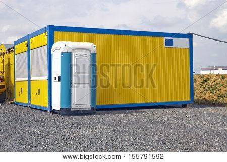 Industrail Site Container and mobile Toilet outdoor Shot