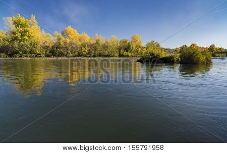 Russia Novosibirsk region Iskitim area autumn landscape with a view of the river Berd.