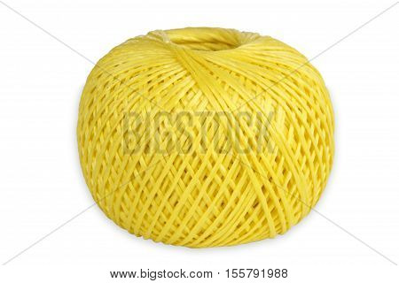 Yellow String isolated on white background. Shot in Studio.