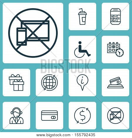 Set Of Travel Icons On Plastic Card, Forbidden Mobile And World Topics. Editable Vector Illustration