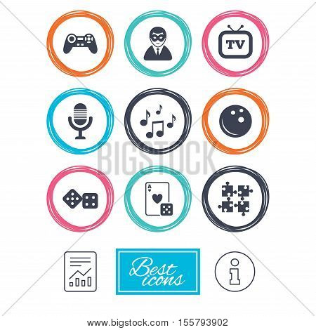 Entertainment icons. Game, bowling and puzzle signs. Casino, carnival and musical note symbols. Report document, information icons. Vector