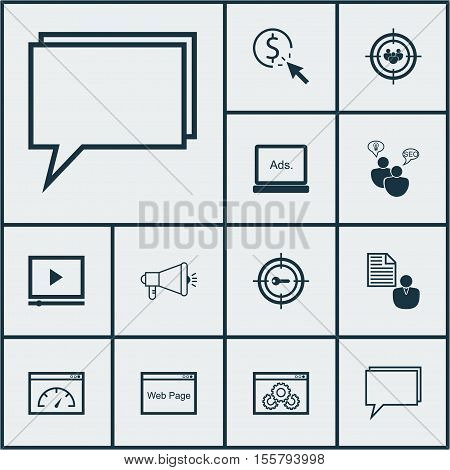 Set Of Advertising Icons On Video Player, Website And Digital Media Topics. Editable Vector Illustra